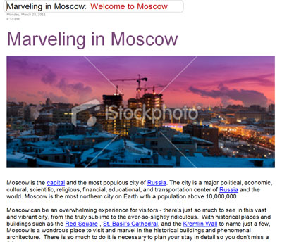 Microsfot OneNote TripBook Marveling in Moscow