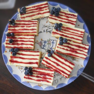 Flag Cheesecake Bars : 4th of July Recipe