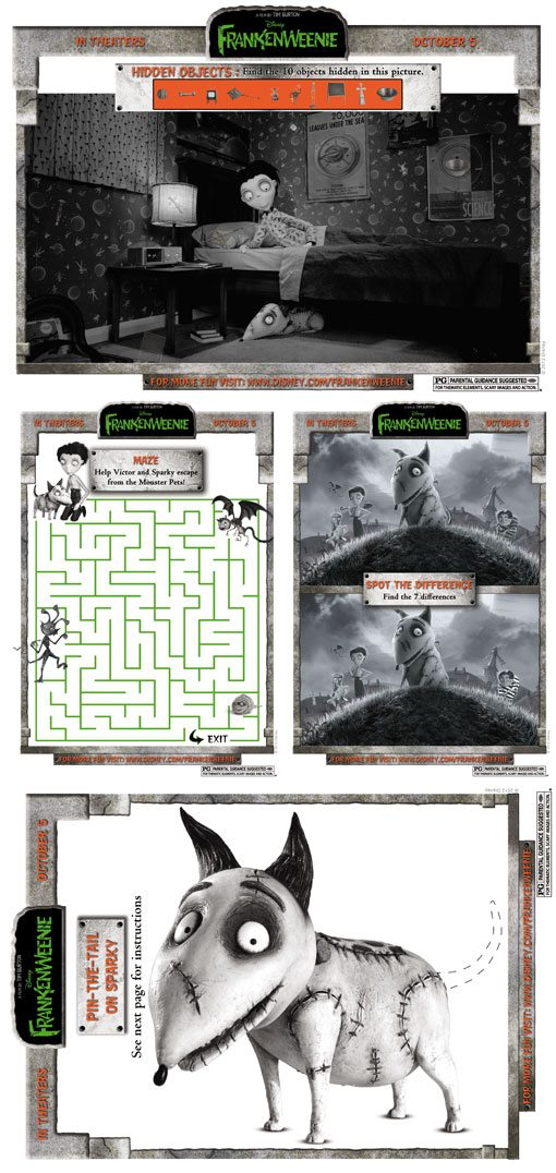 Frankenweenie Activities sheets