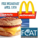 Free McDonald's Breakfast for FCAT's April 15th