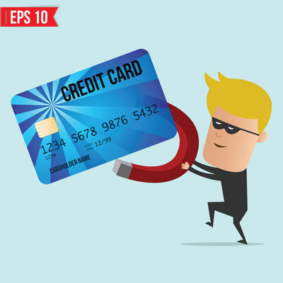 A thief use magnet steal credit card