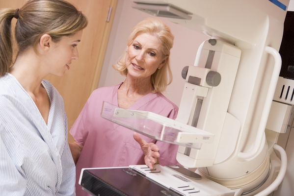 Nurse With Patient About To Have A Mammogram