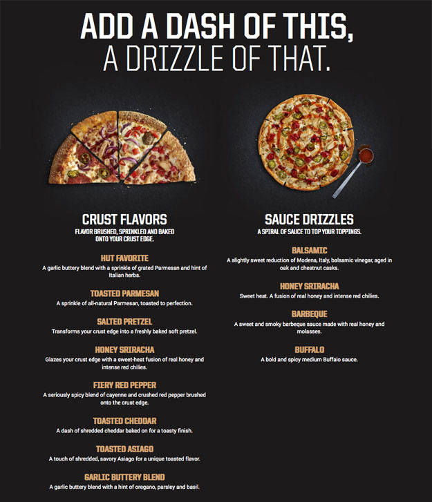 PIzza Hut Crust Flavors and New Drizzle Sauces