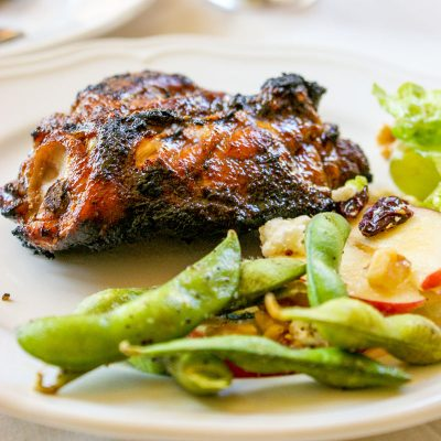 Dry Rub Grilled Chicken with Salted Edamame Recipe