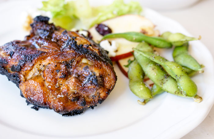 Dry Rub Grilled Chicken and Salted Edamame