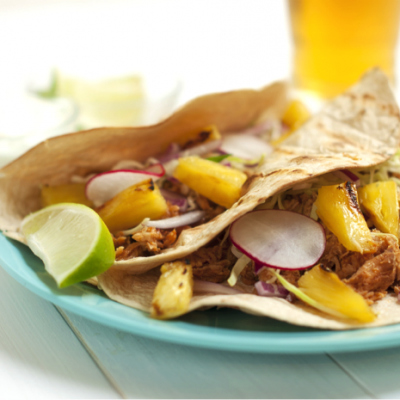 Sweet & Spicy Pulled Pork Tacos with Grilled Pineapple Salsa